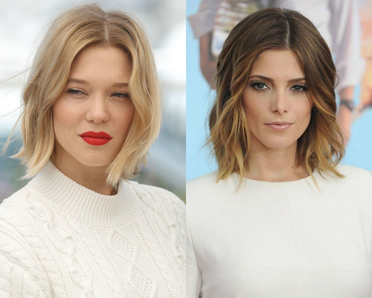 celebrity center parted wavy bob hairstyles
