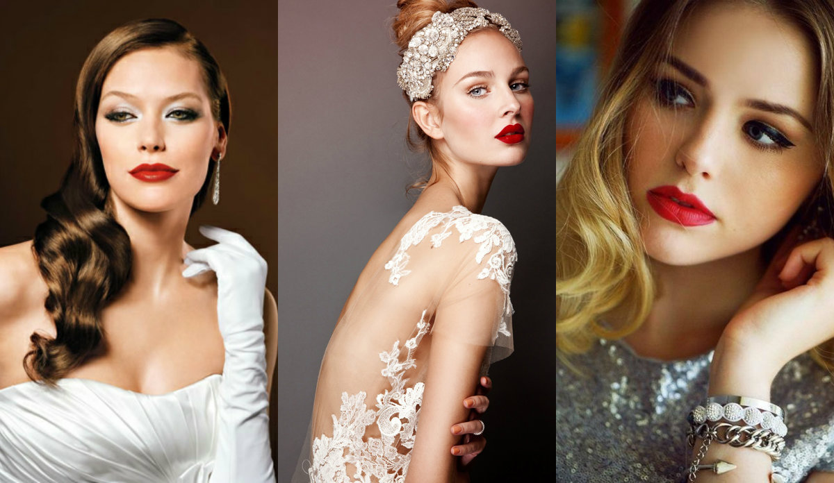 fall 2016 simple bridal hairstyles and red lipstick
