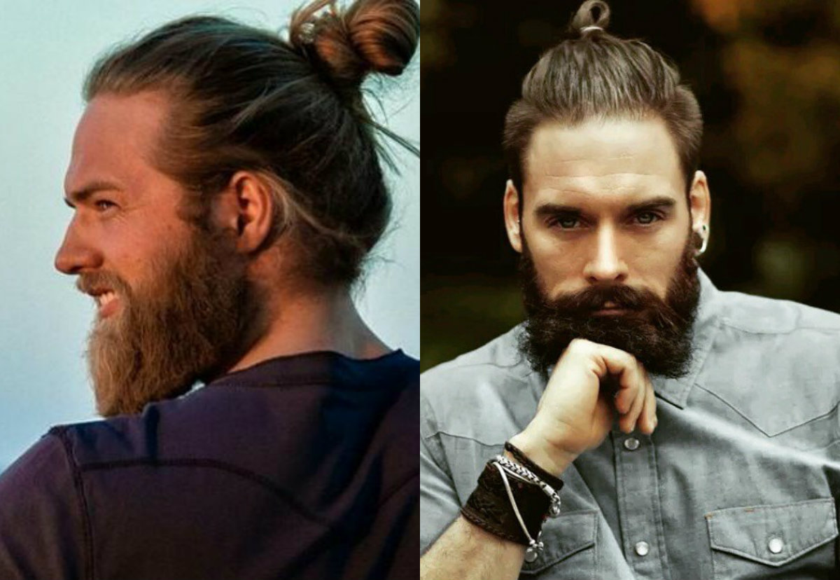 mens top knots and beards
