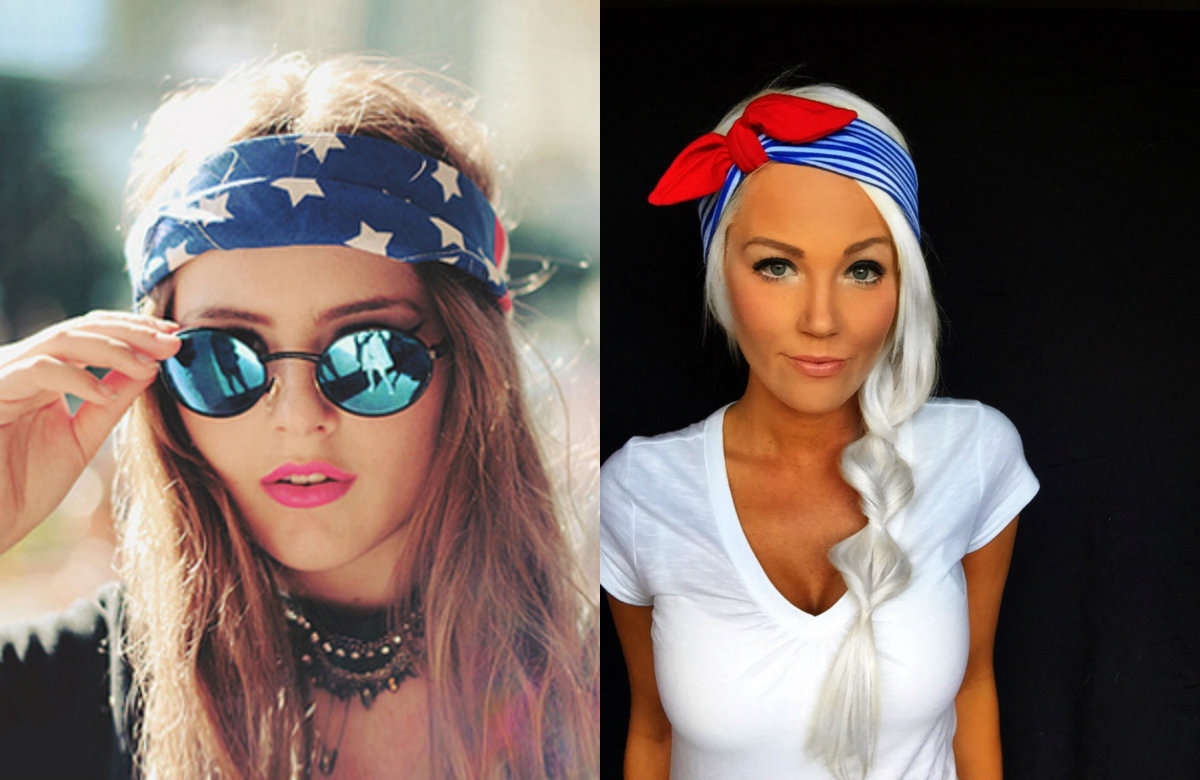 patriotic hairstyles with bandanas