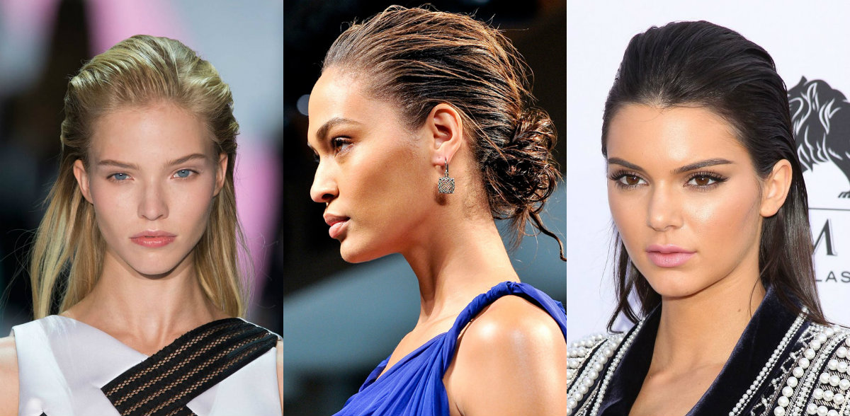runway wet hairstyles for brides