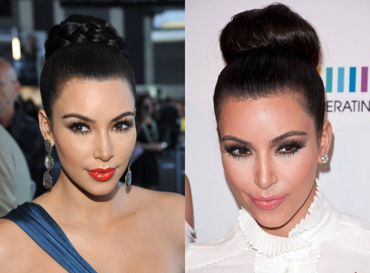 Kim Kardashian Wedding bun hairstyles