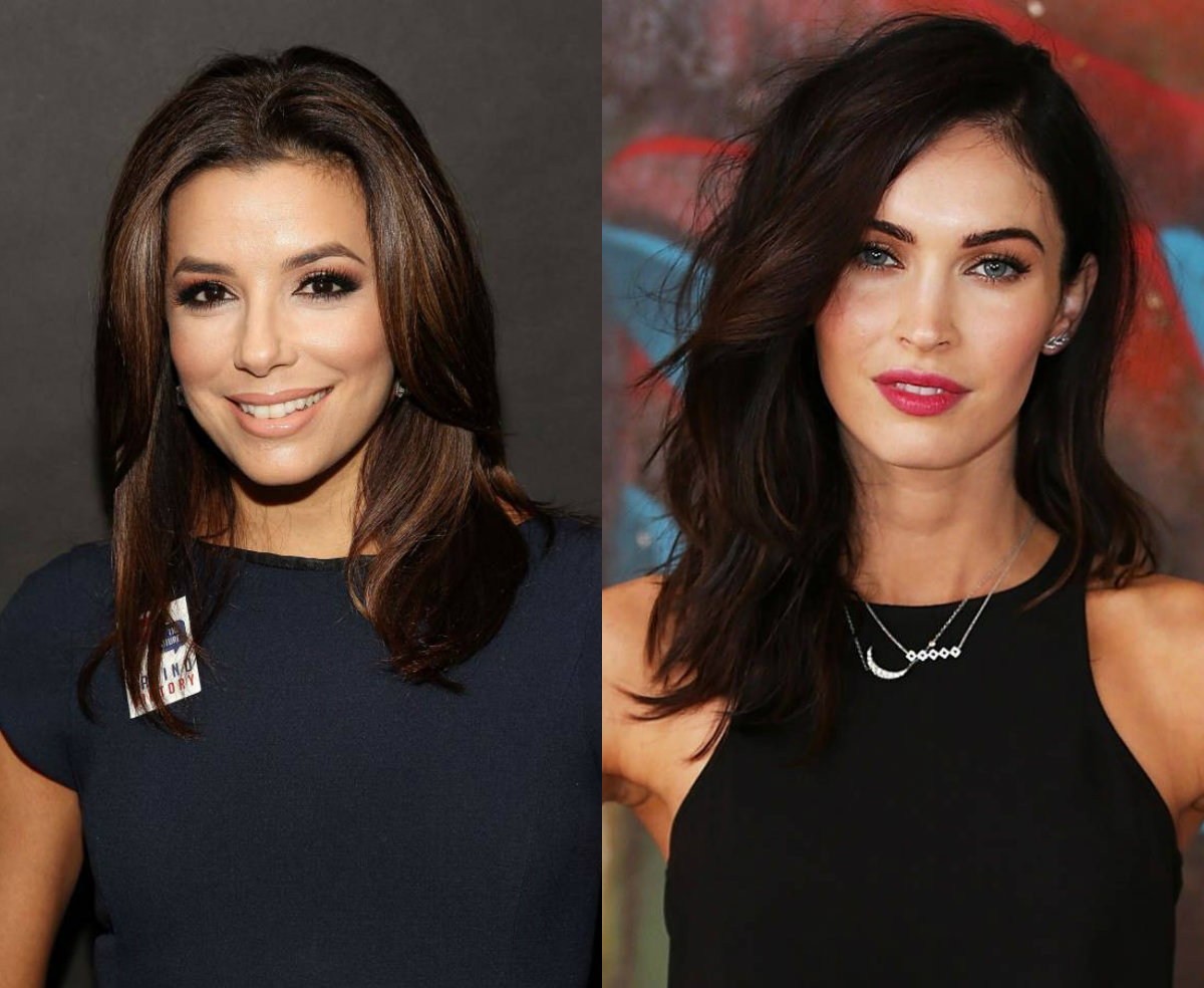celebrity brunette mid part hairstyles