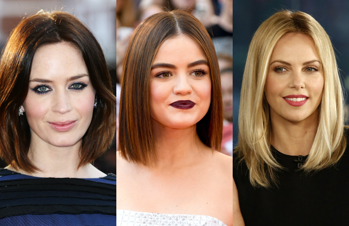 celebrity ctraight center parted lob hairstyles