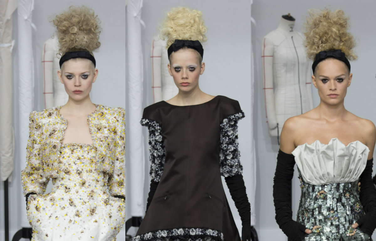 curly blonde updo hairstyles by Chanel