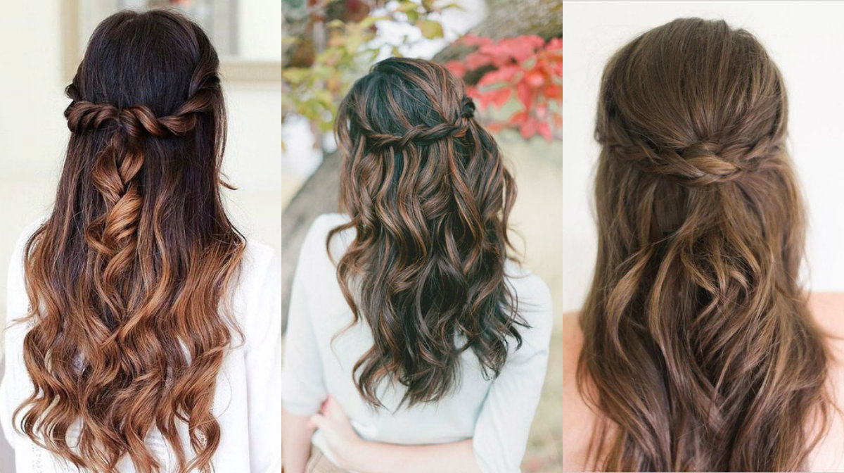 half up half down braided hairstyles for romantic looks