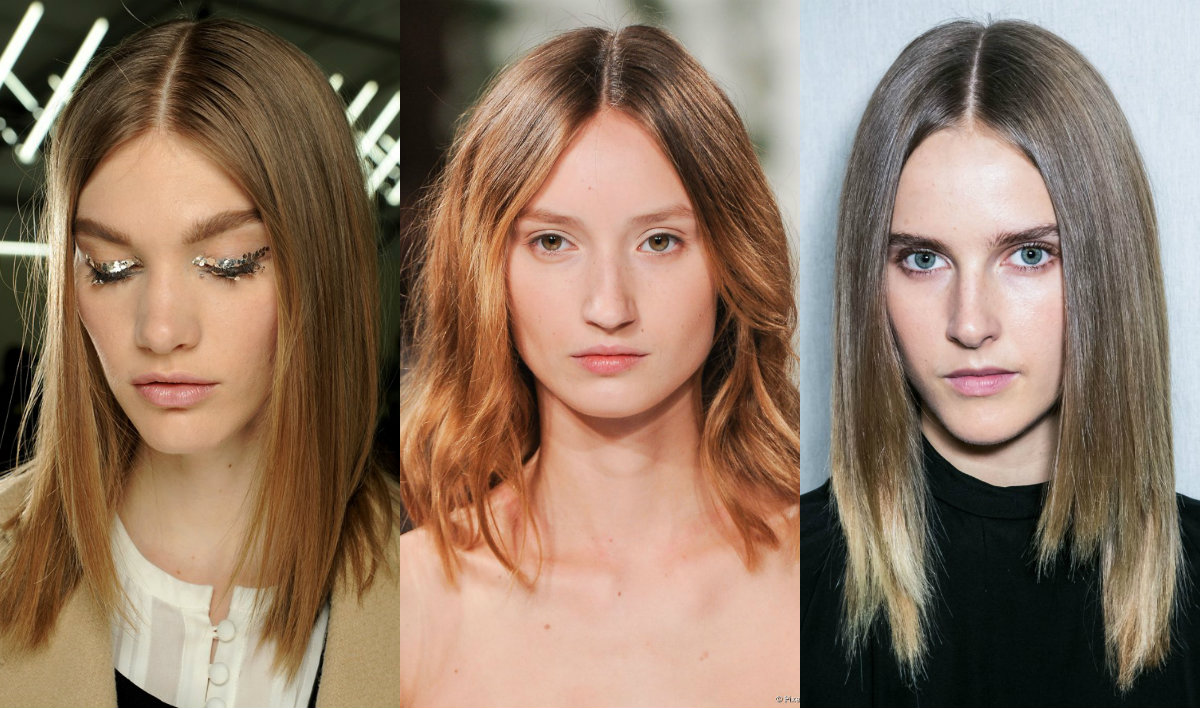middle part lob hairstyles from runways