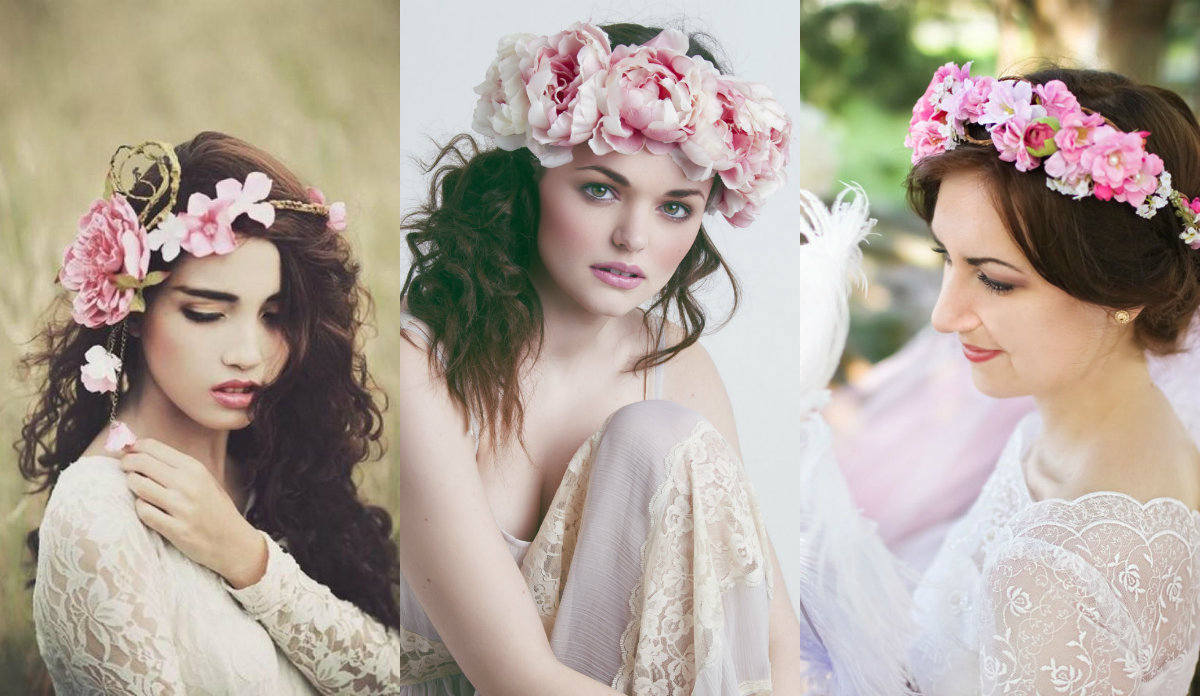 pink flowers wedding hairstyles