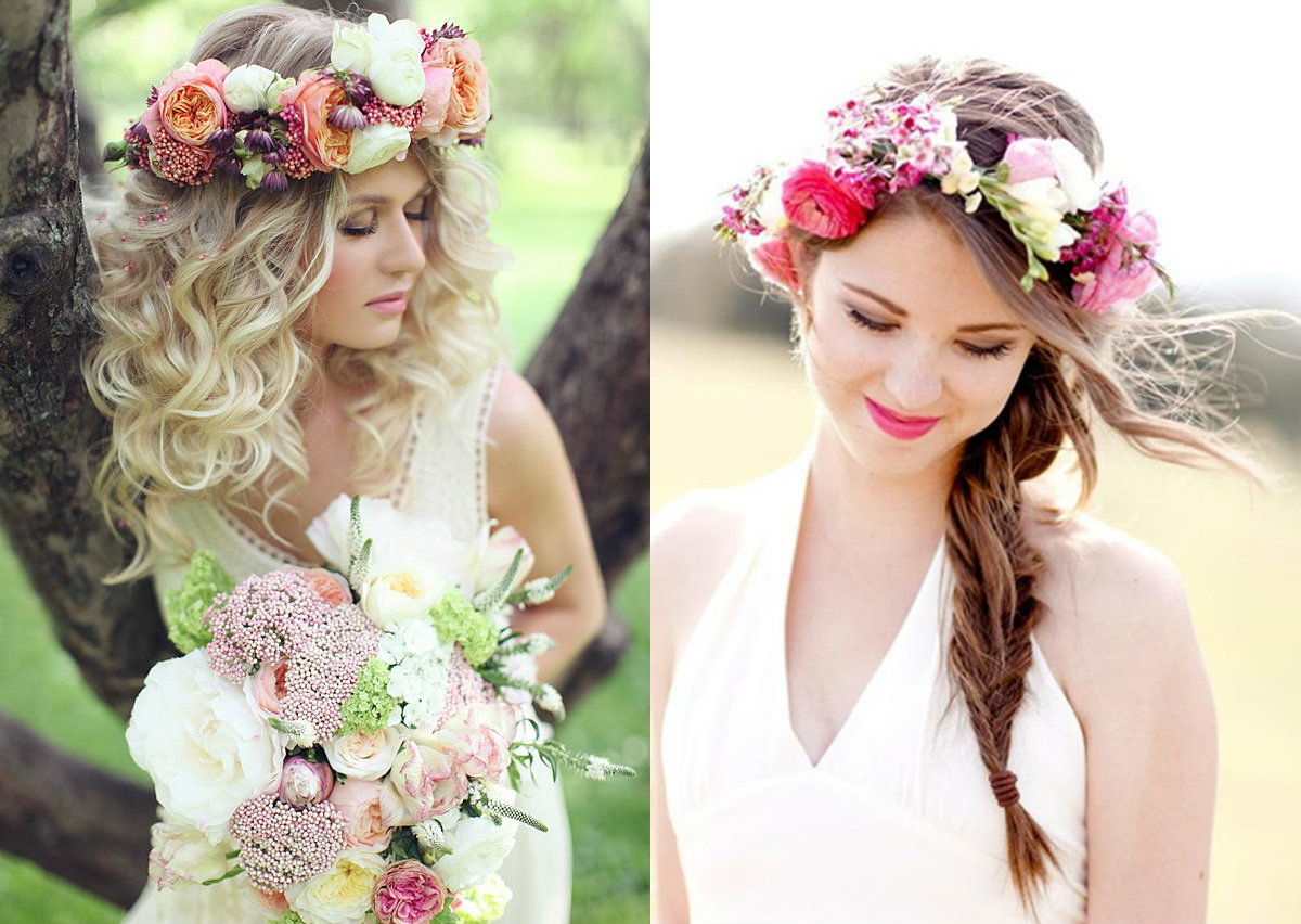 wed hair looks with flowers