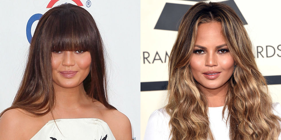 Chrissy Teigen long hairstyles with bangs