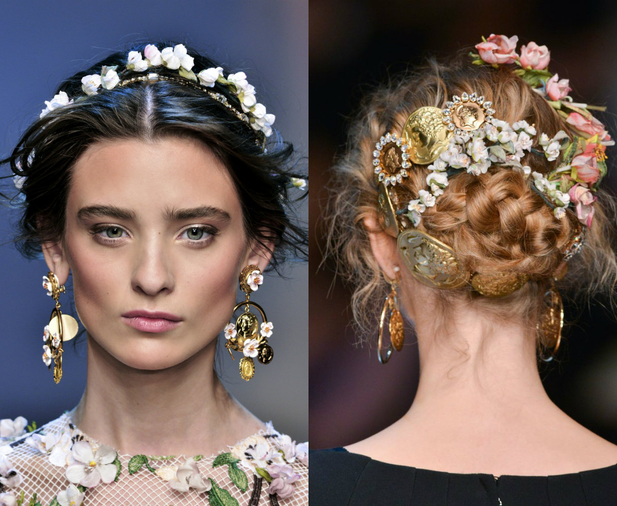 Dolce & Gabbana casual bridal updos with flowers hair accessories