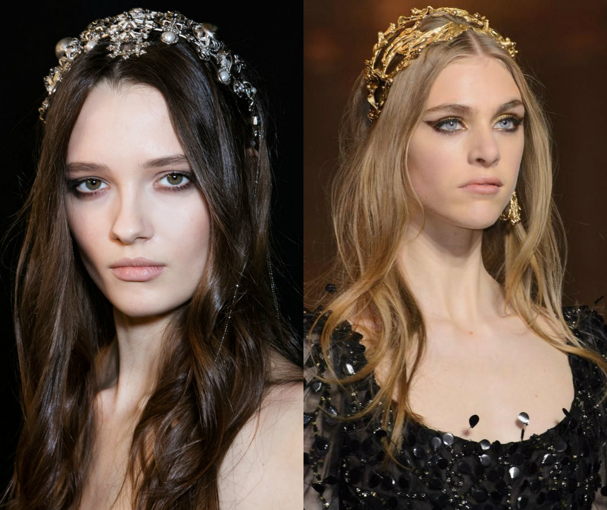 Elie Saab loose bridal hairstyles with jewel crown