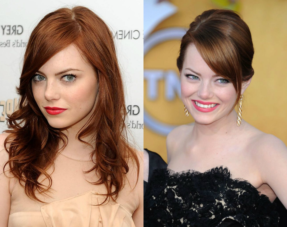 Emma Stone light auburn hair shade
