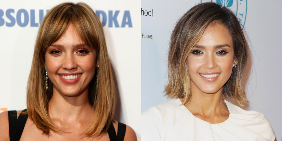 Jessica Alba hairstyles with bangs
