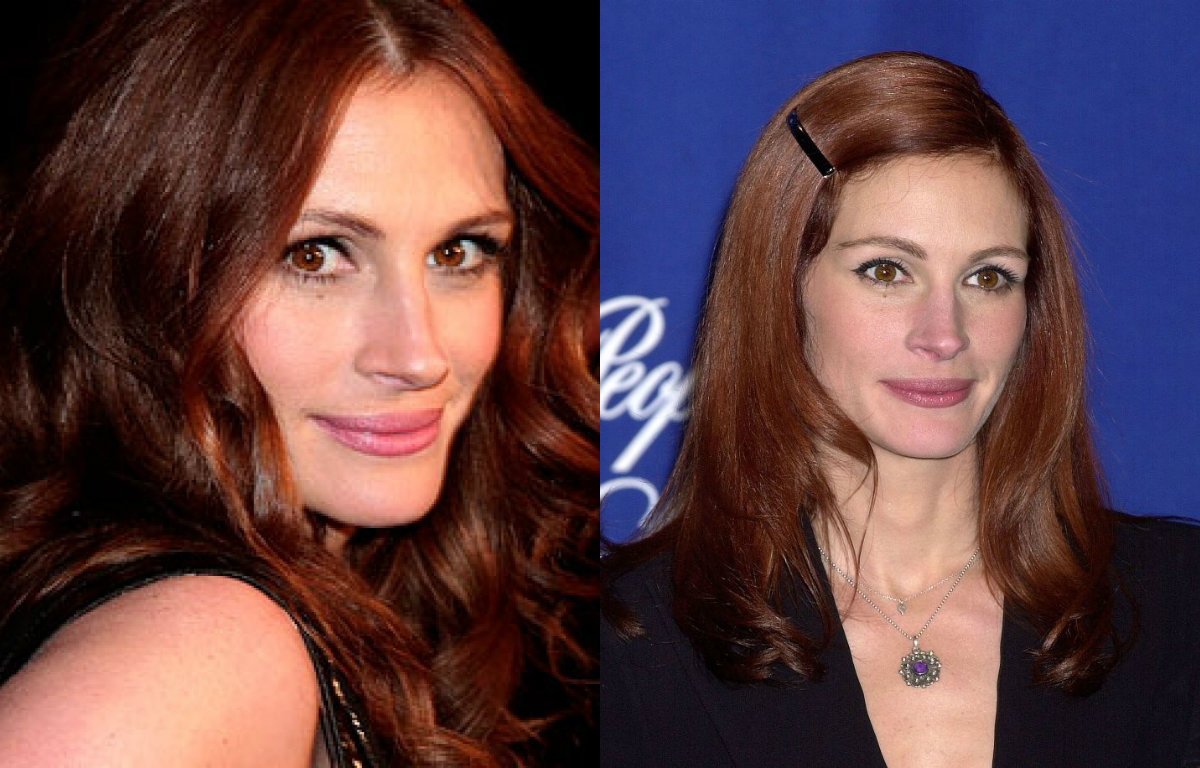 Julia Roberts warm auburn hair colors