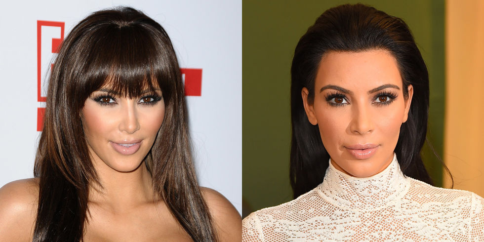 Kim Kardashian hairstyles with fringes
