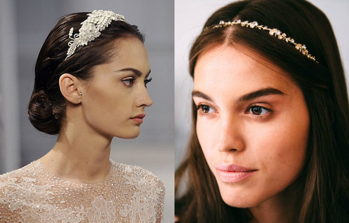 Monique Lhuillier diamond headpiece for wedding