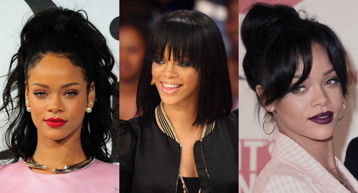 Rihanna hairstyles with and without bangs