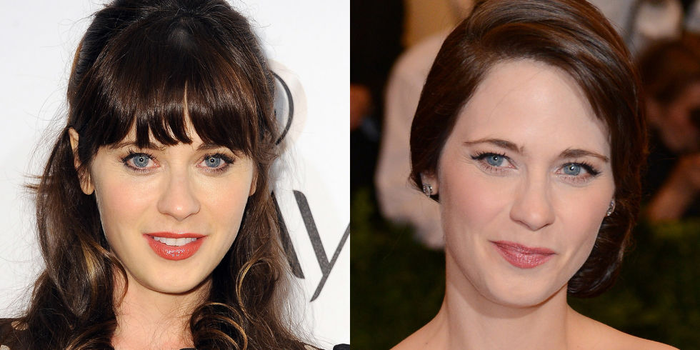 Zooey Deschanel signature bangs hair