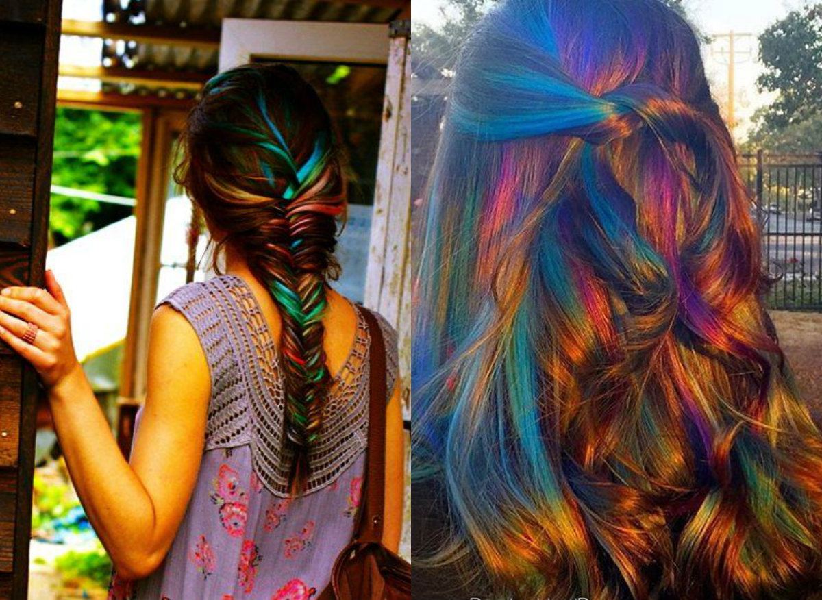 Hair Color In Style: Oil Slick Hair Colors: Pastel For Brunettes?