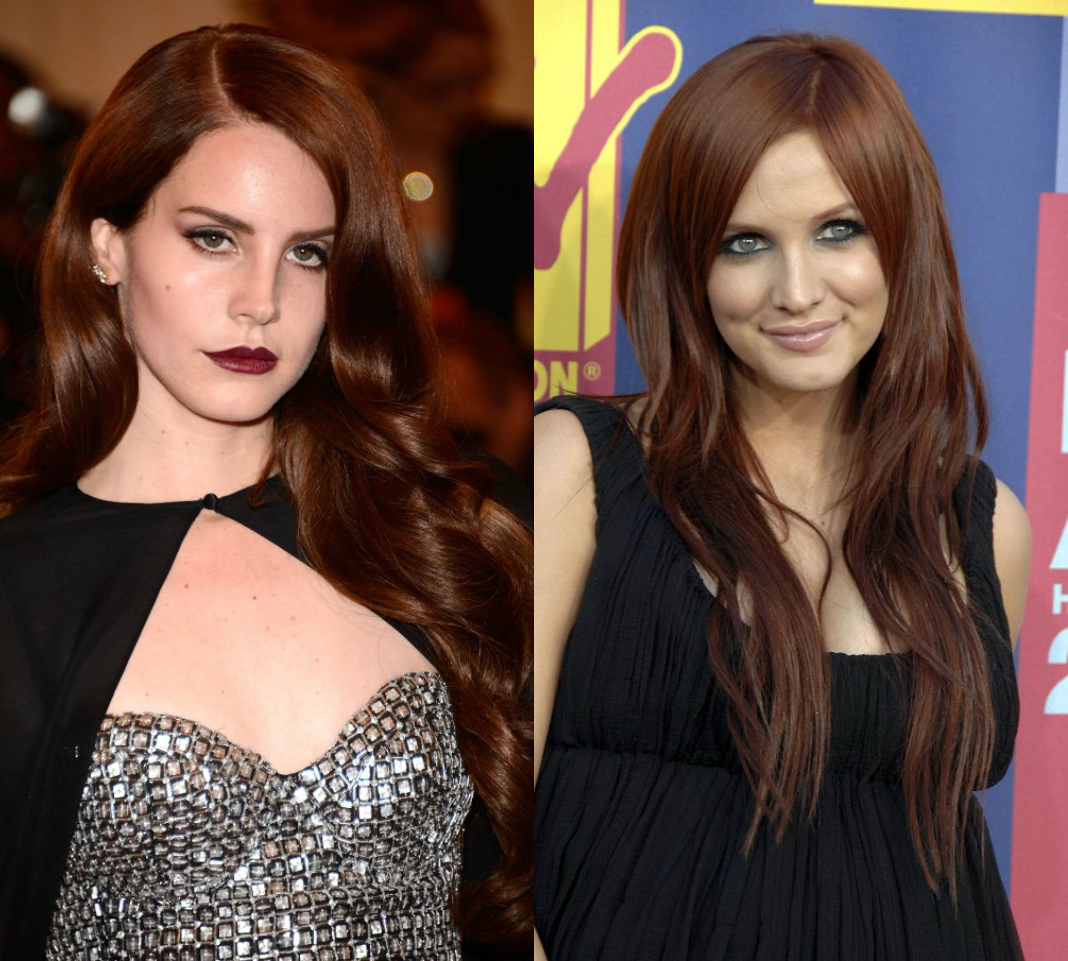 celebrity long auburn tresses