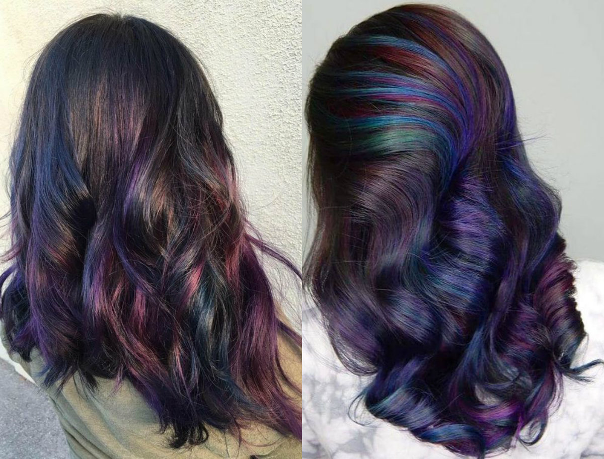 long brunette oil slick hairstyles