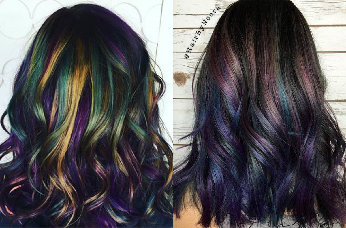 long petrol color hairstyles