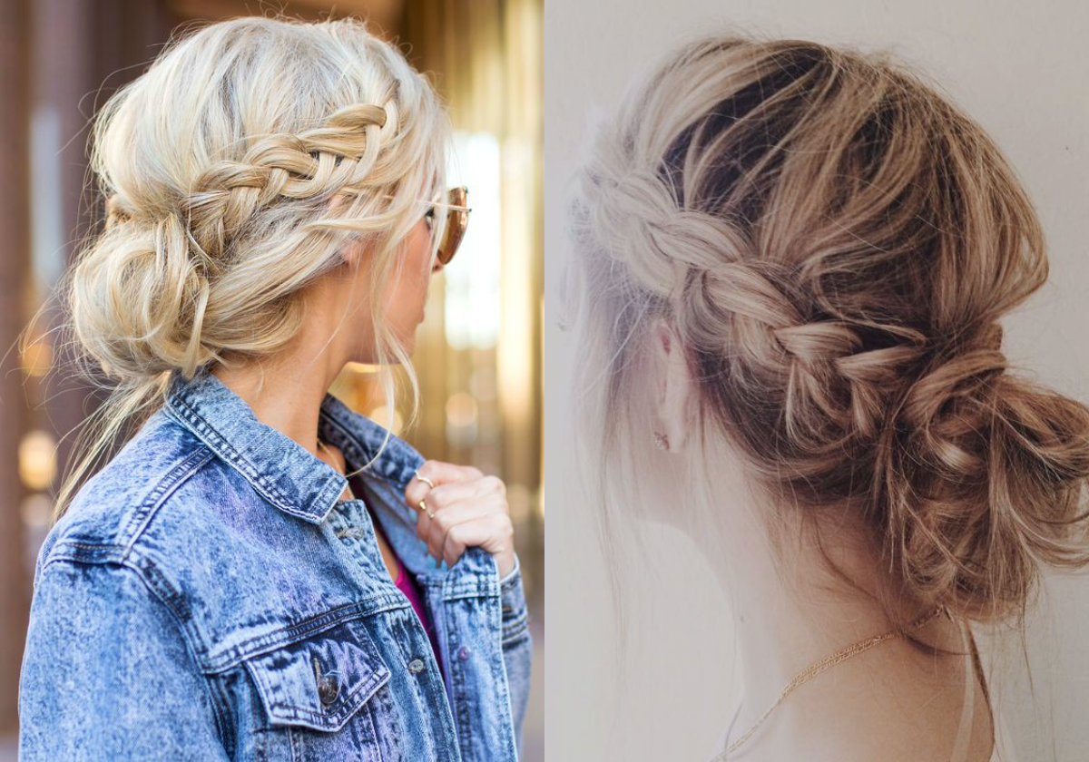 messy braids into low bun