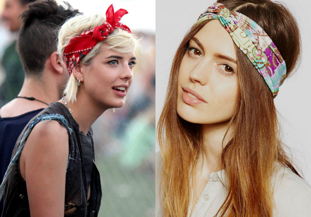 music festival hairstyles with bandana