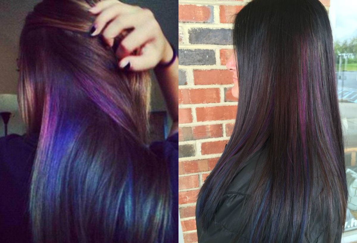 oil slick hair colors on straight hair