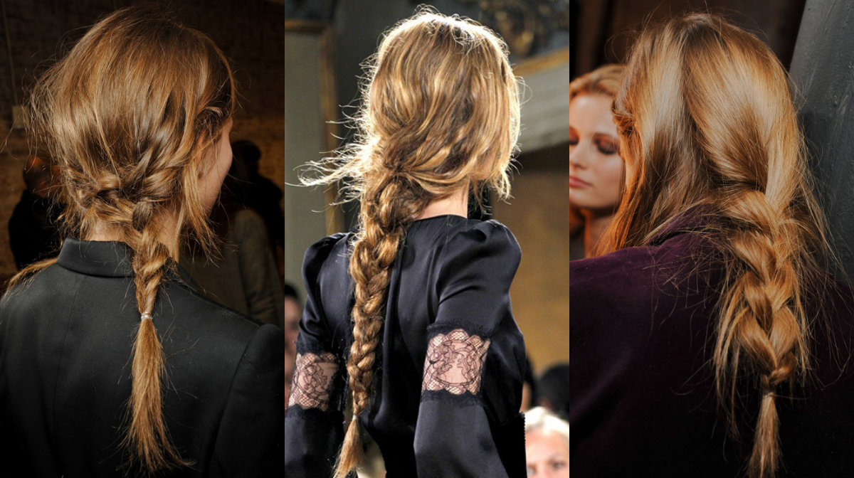 runway inspired simple messy braids hair