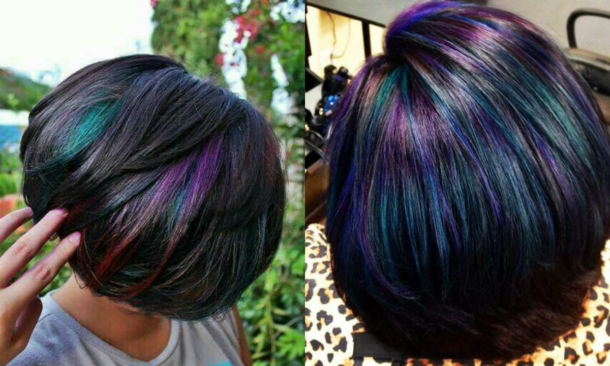2018 Hairstyle For Dark Hair Color: Oil Slick Hair Colors: Pastel For Brunettes?