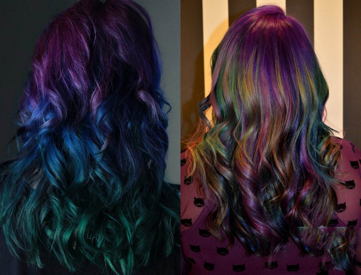 vibrant wavy hair and oil slick hair colors 2017