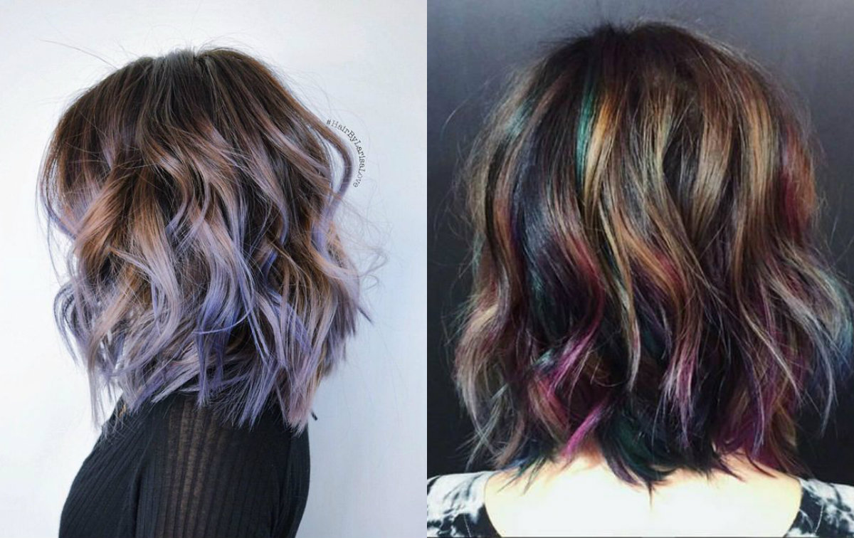 wavy bob styles and soft oil slick hair colors