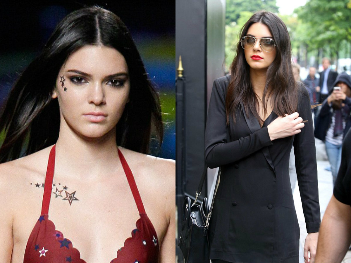 Kendall Jenner long straight middle part hairstyles