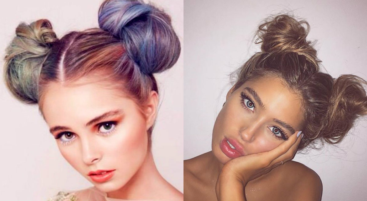 messy-casual-two-bun-hairstyles-2017
