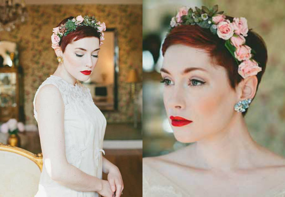 red wedding pixie cut with flower crown