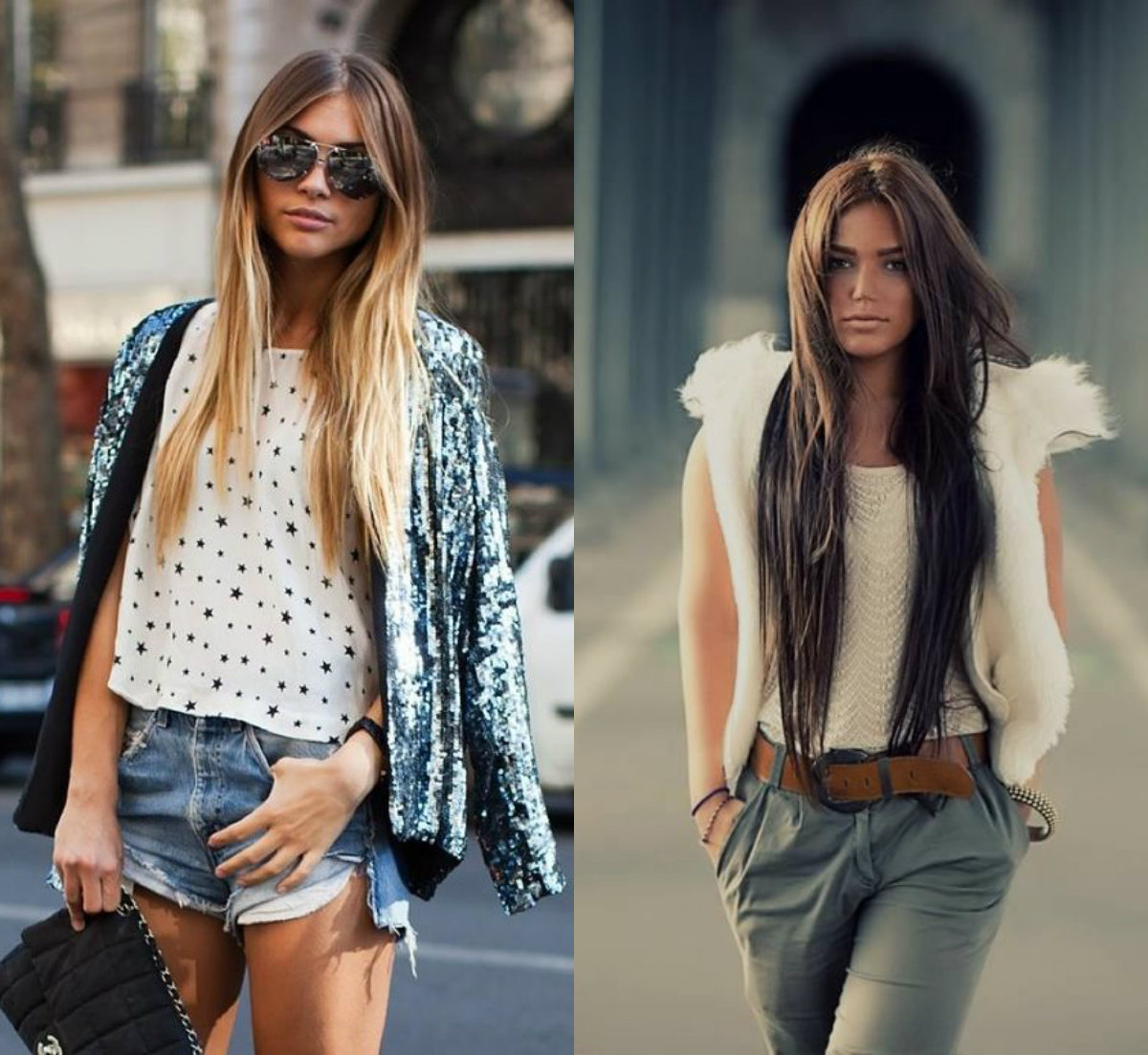 street style middle parted long hair