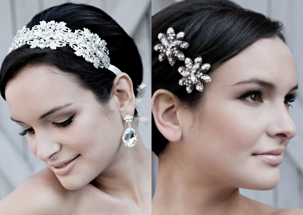wedding pixie haircuts and jewel hair accessories