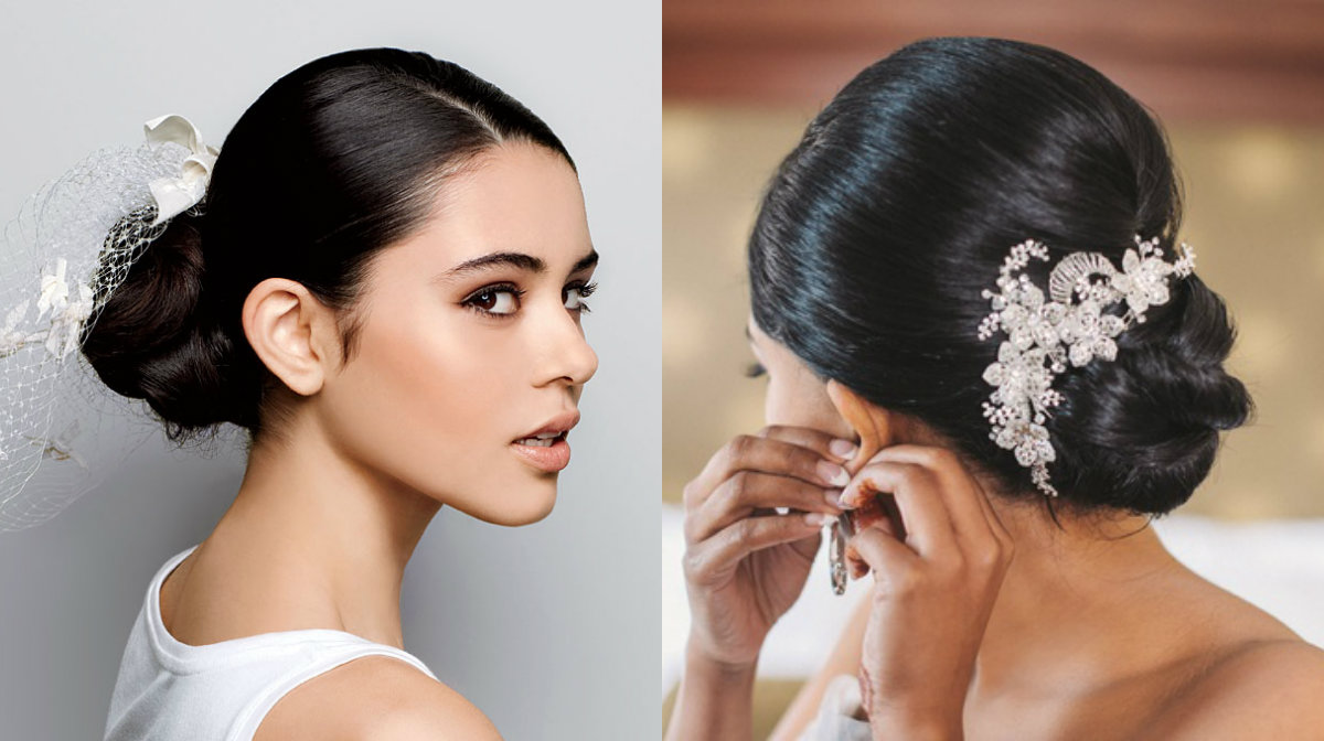 brunette-wedding-low-buns-with-veils-2017