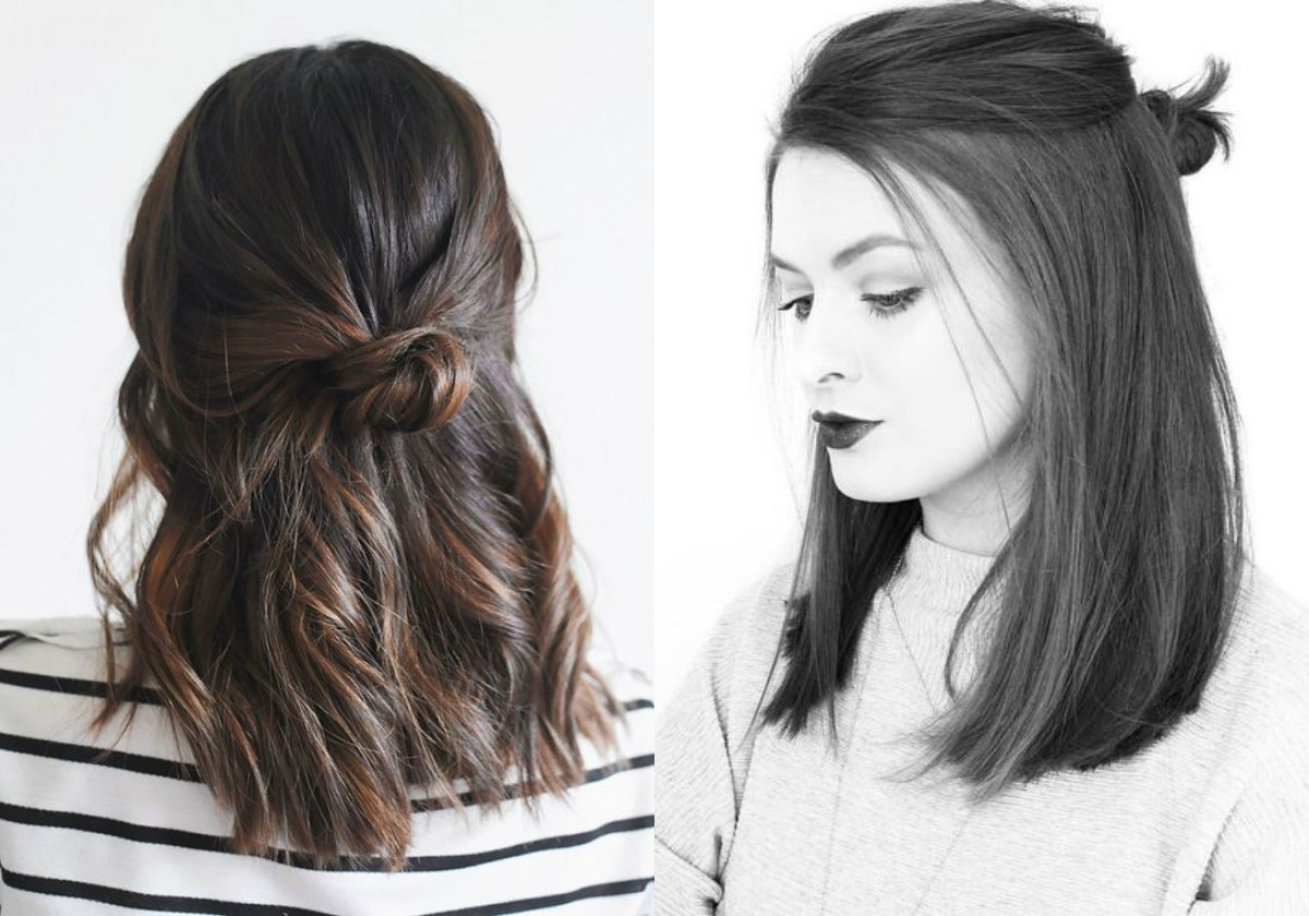 half-up-half-down-lob-hairstyles