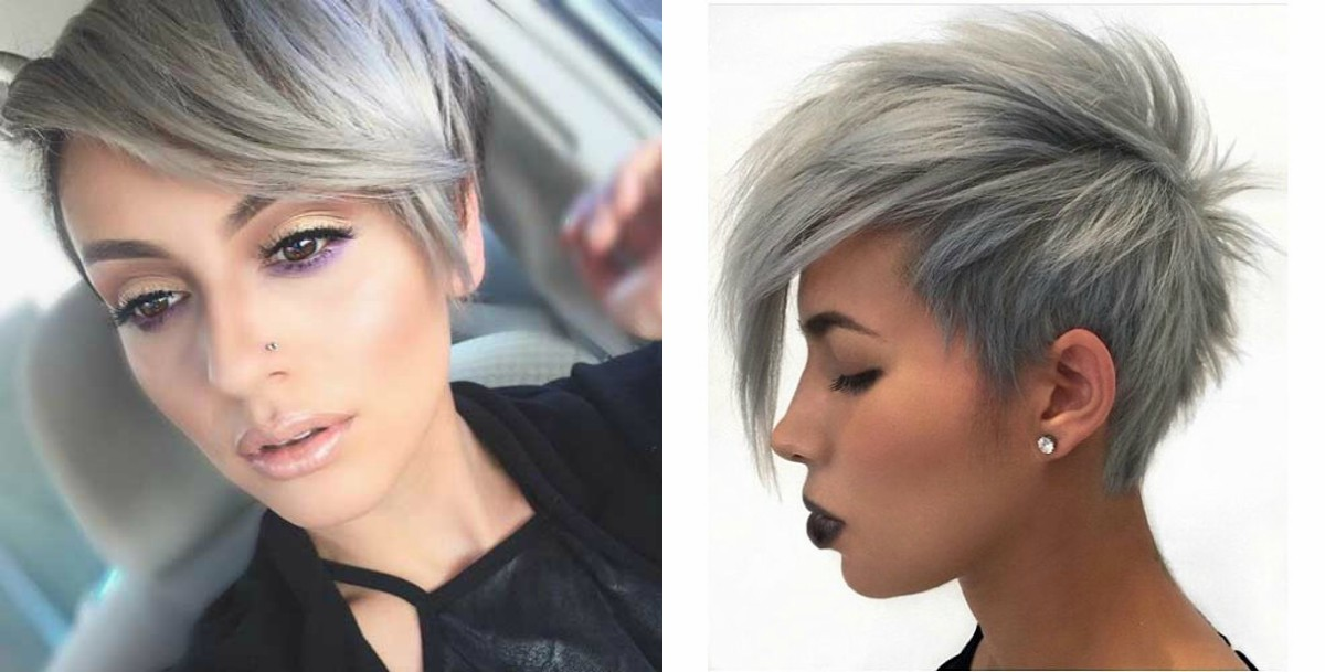 Winter Fit Extravagant Silver Pixie Haircuts Hairdrome Com