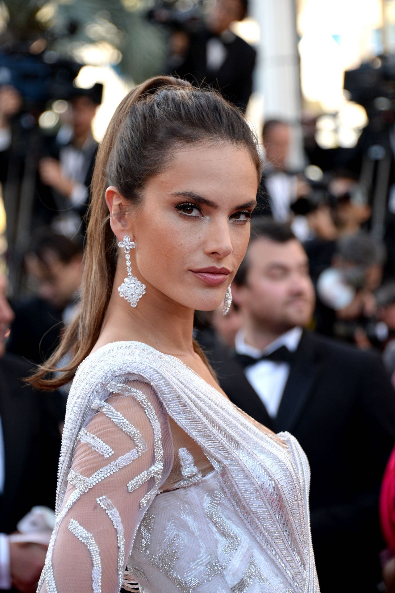Alessandra Ambrosio high sleek ponytail hairstyles