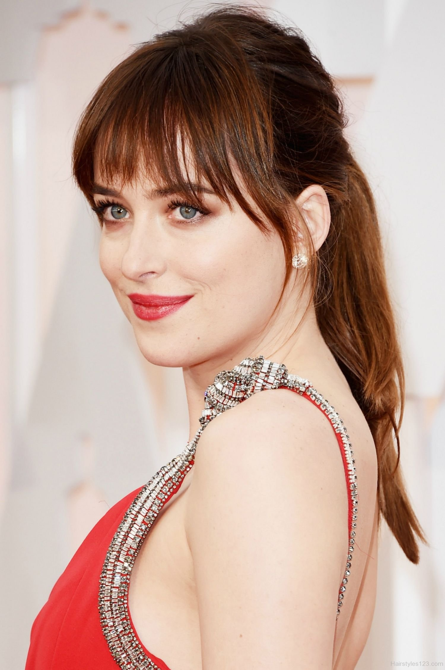 Dakota Johnson high ponytail hairstyles 2017