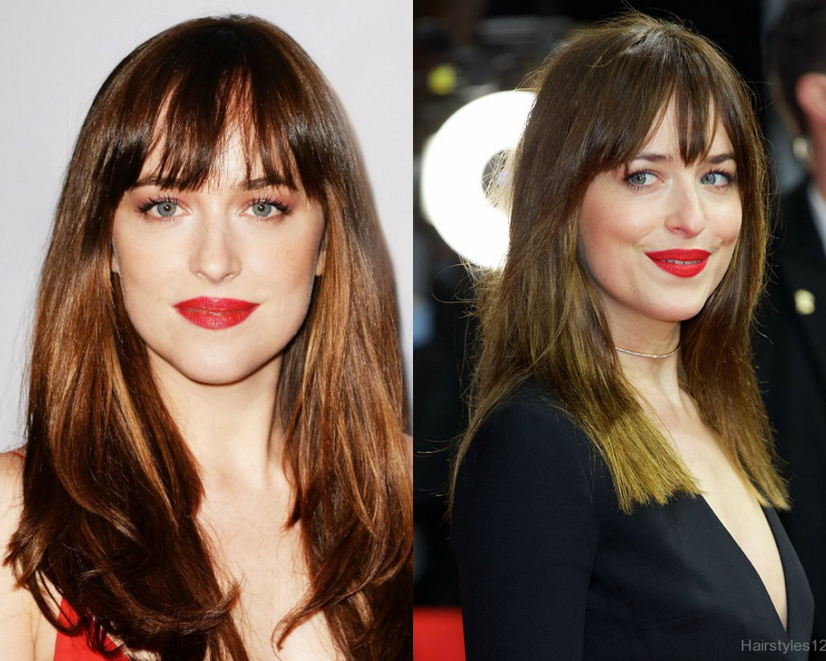 Dakota Johnson straight hairstyles with bangs 2017