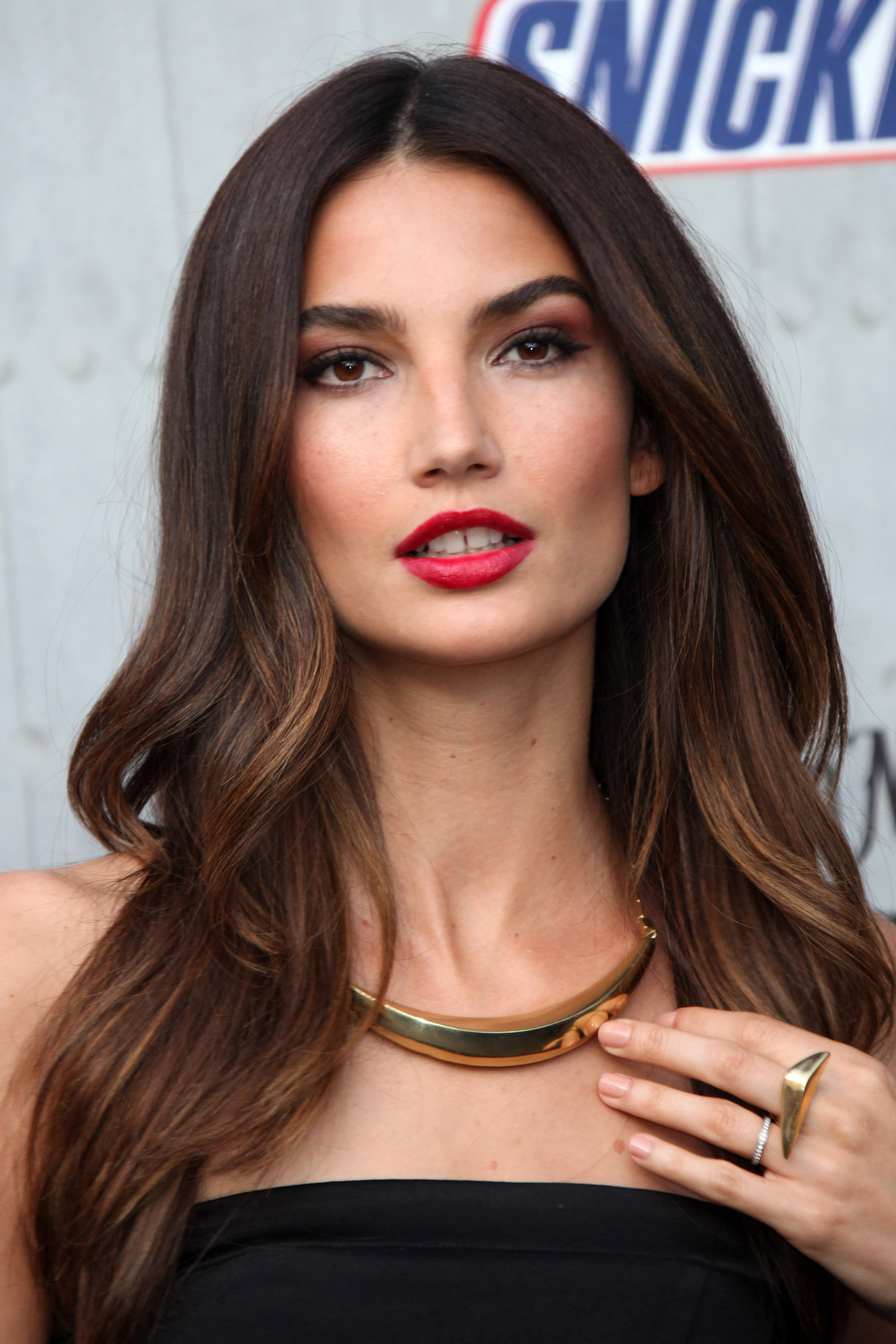 Lily Aldridge dark brown hair