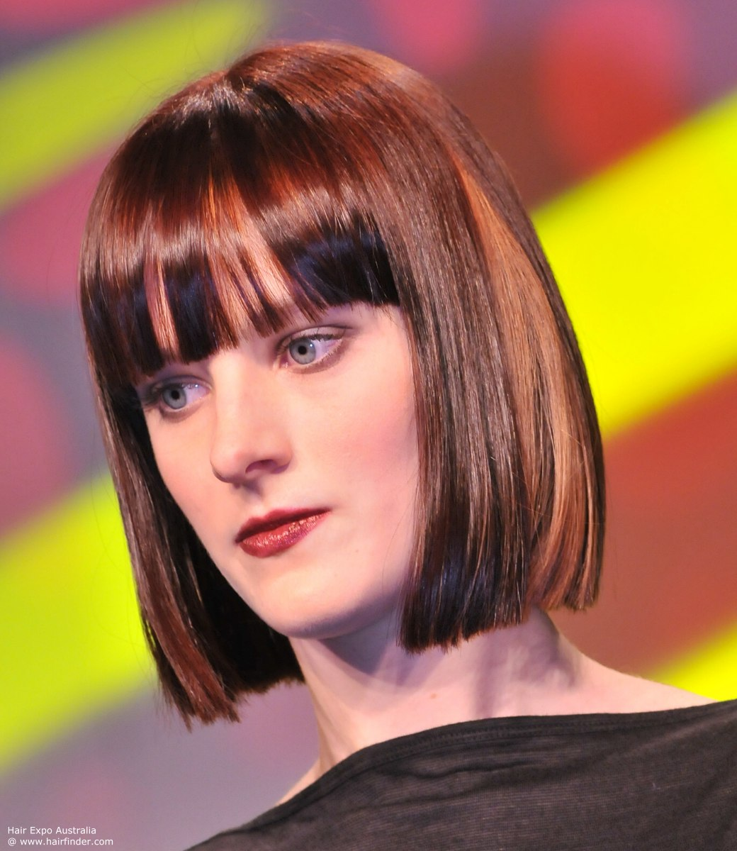catwalk blunt bob hairstyles with bangs
