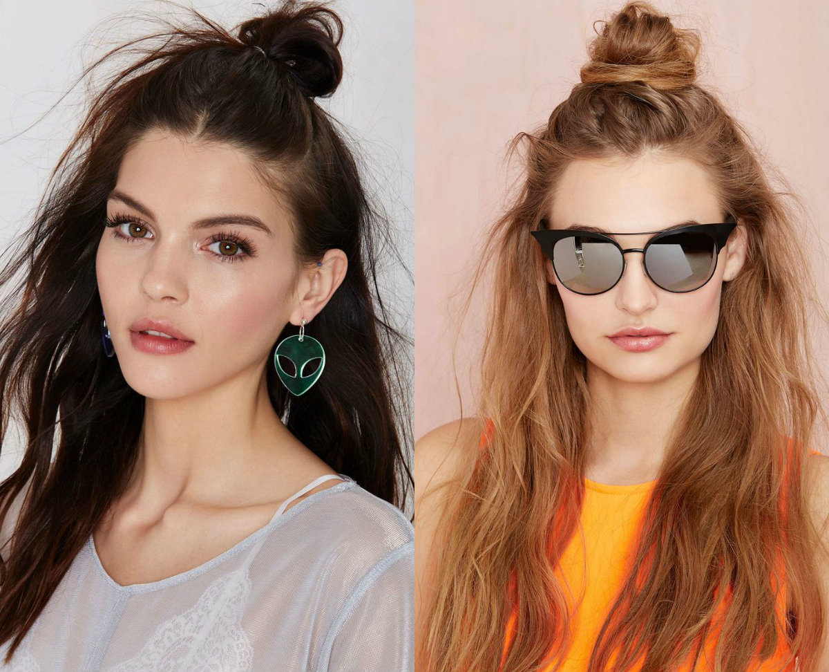 half up half down top knots hairstyles 2017
