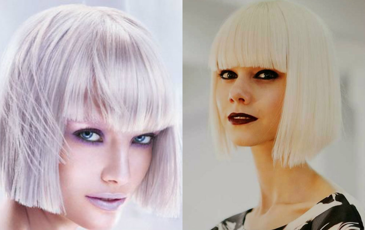 platinum blonde blunt bob hairstyles with bangs