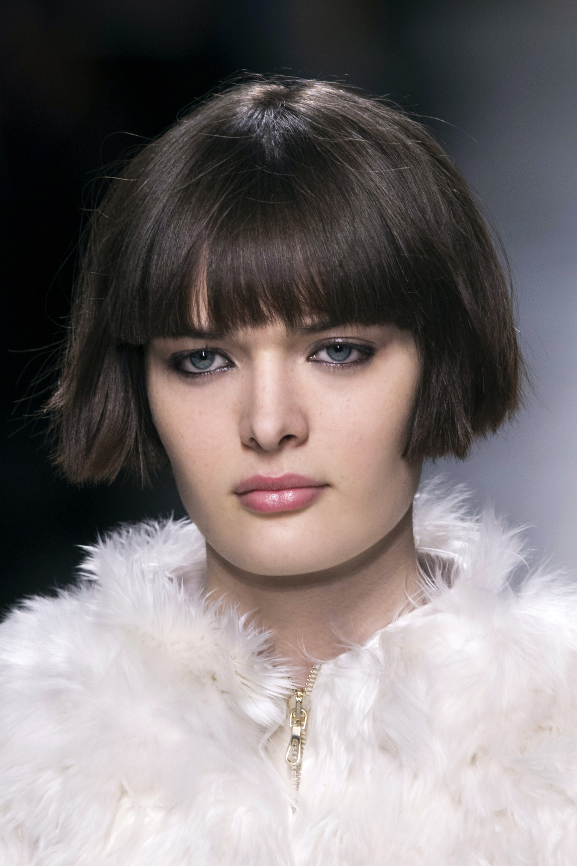 runway blunt bob hairstyles with bangs